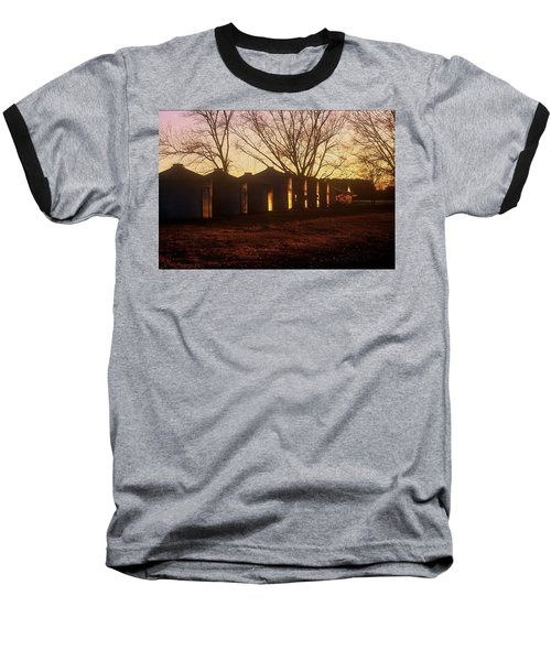 Baseball T-Shirt featuring the photograph Corn Cribs At Sunset by Rodney Lee Williams