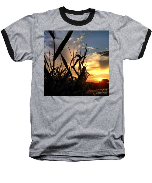 Cornfield Sundown Baseball T-Shirt by Angela Rath
