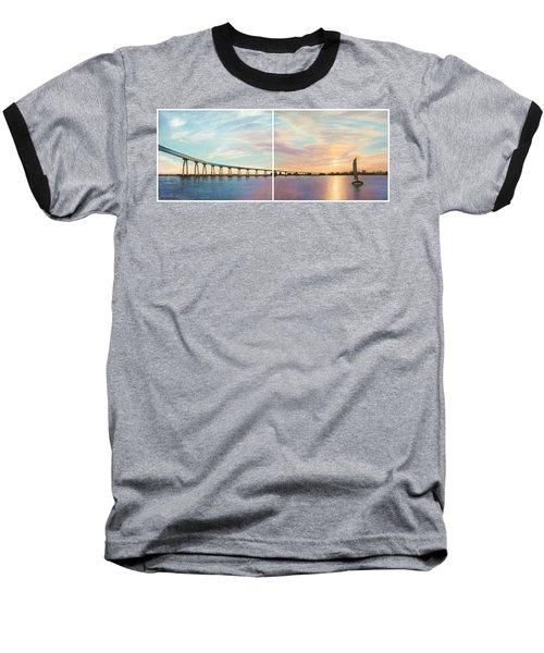 Coronado Bridge Sunset Diptych Baseball T-Shirt