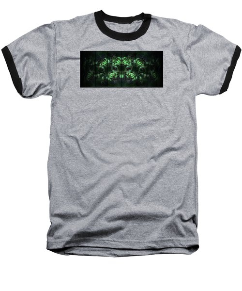 Cosmic Alien Eyes Green Baseball T-Shirt by Shawn Dall