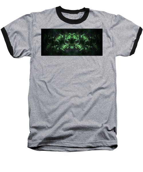 Cosmic Alien Eyes Green Baseball T-Shirt