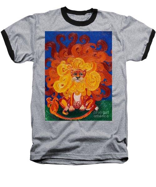 Cosmic Lion Baseball T-Shirt by Cassandra Buckley