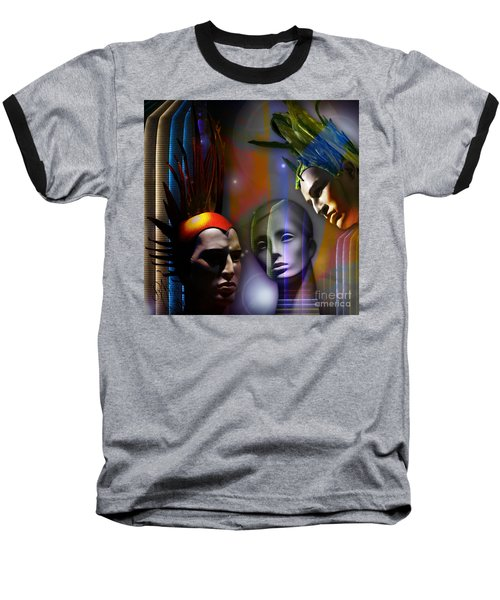 Baseball T-Shirt featuring the digital art Cosmic Mannequins Triad by Rosa Cobos