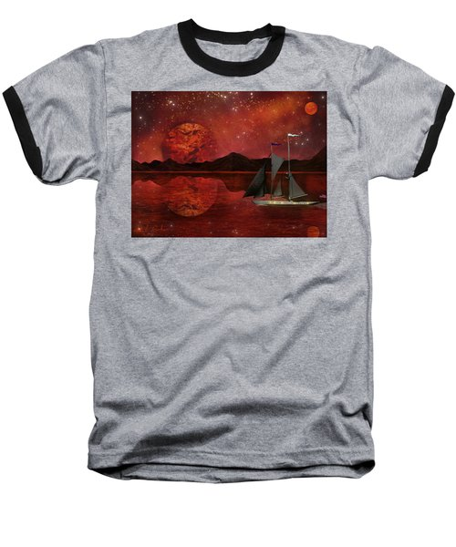Baseball T-Shirt featuring the painting Cosmic Ocean by Michael Rucker