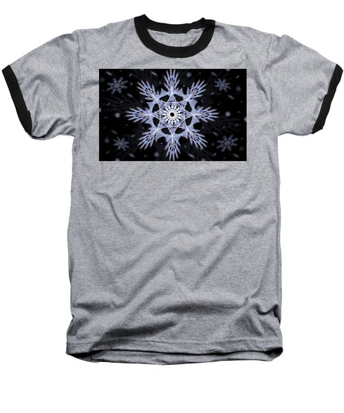 Cosmic Snowflakes Baseball T-Shirt by Shawn Dall