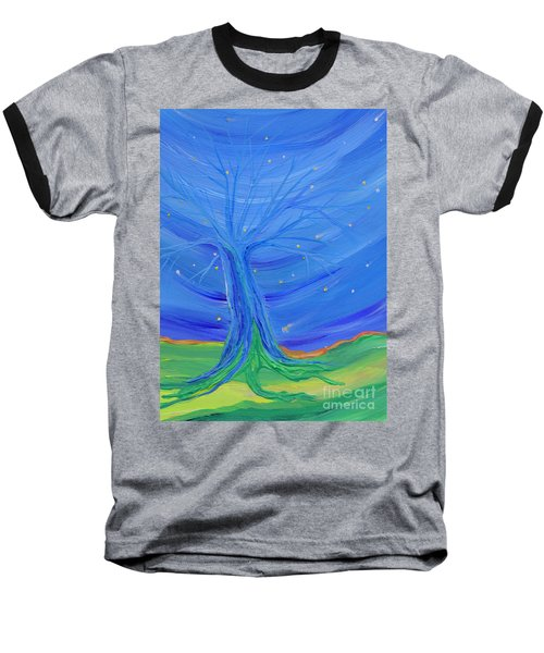 Baseball T-Shirt featuring the painting Cosmic Tree by First Star Art