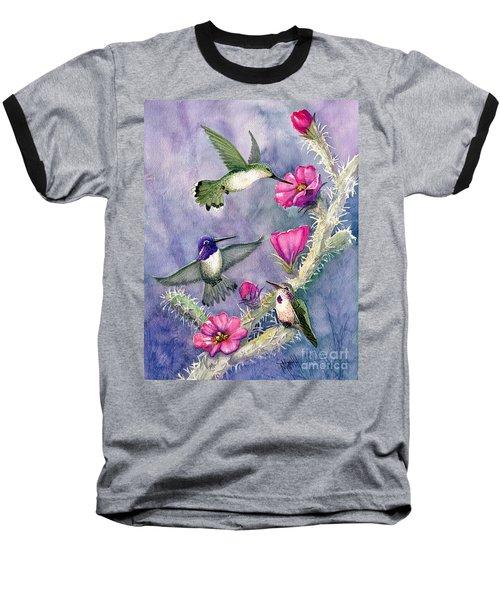 Costa Hummingbird Family Baseball T-Shirt by Marilyn Smith