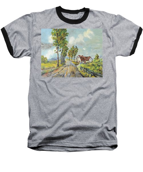 Cottage On Poplar Lane Baseball T-Shirt by Mary Ellen Anderson