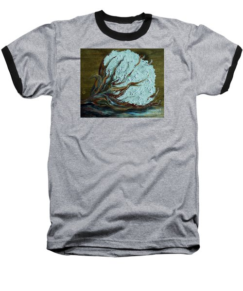 Cotton Boll On Wood Baseball T-Shirt