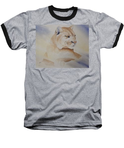 Cougar On Watch Baseball T-Shirt