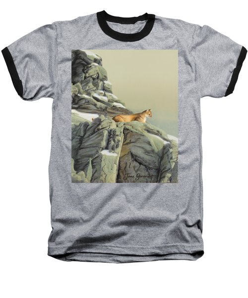 Baseball T-Shirt featuring the painting Cougar Perch by Jane Girardot