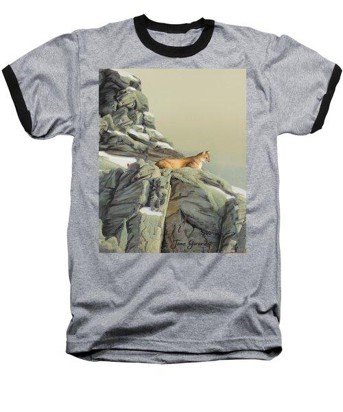 Cougar Perch Baseball T-Shirt by Jane Girardot