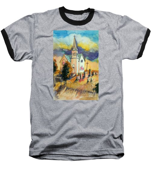 Baseball T-Shirt featuring the painting Country Church At Sunset by Kathy Braud