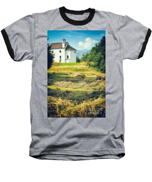Baseball T-Shirt featuring the photograph Country Church With Hay by Silvia Ganora