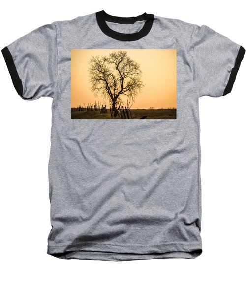 Country Fence Sunset Baseball T-Shirt