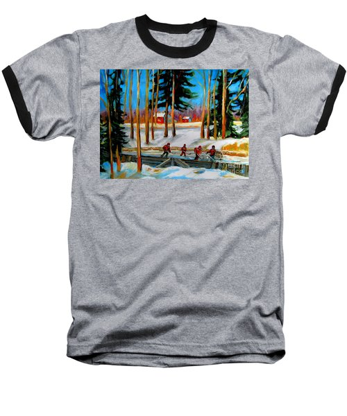 Country Hockey Rink Baseball T-Shirt