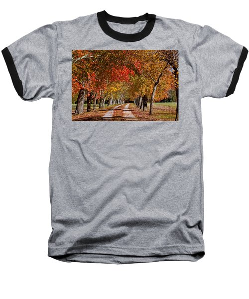 Baseball T-Shirt featuring the photograph Country Lane In Autumn by Jerry Gammon