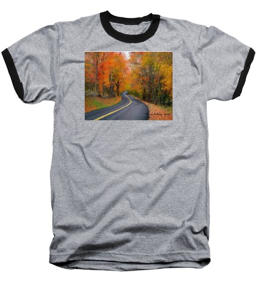 Baseball T-Shirt featuring the painting Country Road In Autumn by Bruce Nutting