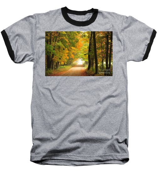 Baseball T-Shirt featuring the photograph Country Road In Autumn by Terri Gostola