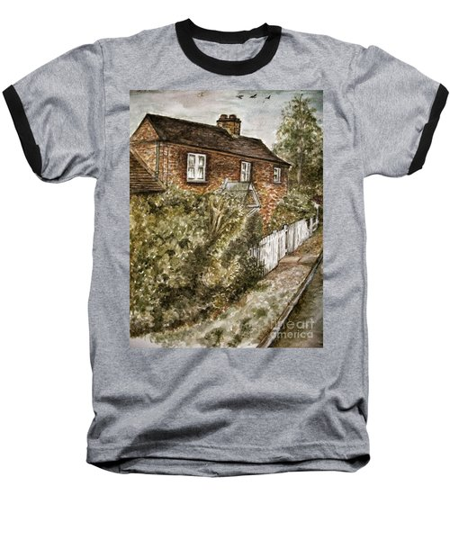 Old English Cottage Baseball T-Shirt by Teresa White