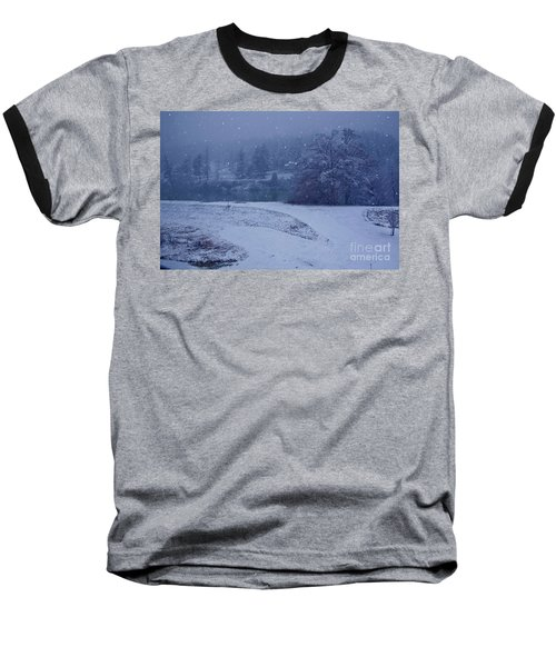 Country Snowstorm Landscape Art Prints Baseball T-Shirt by Valerie Garner