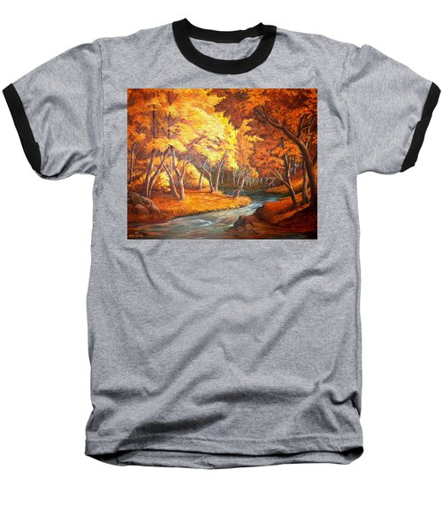 Country Stream In The Fall Baseball T-Shirt by Loxi Sibley