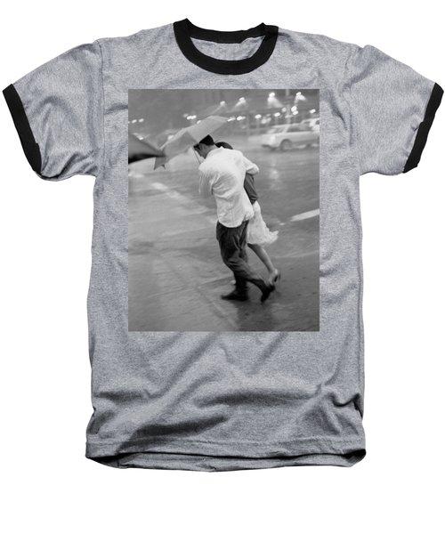Couple In The Rain Baseball T-Shirt