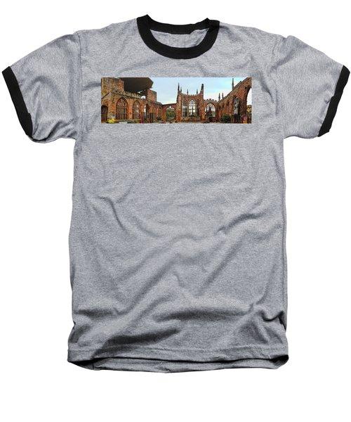 Coventry Cathedral Ruins Panorama Baseball T-Shirt