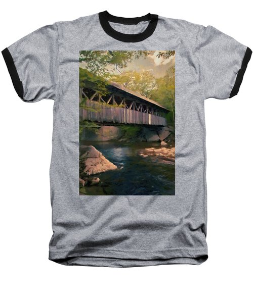 Baseball T-Shirt featuring the painting Covered Bridge by Jeff Kolker