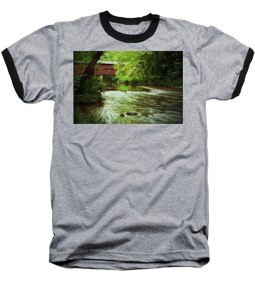 Covered Bridge Over French Creek Baseball T-Shirt by Michael Porchik