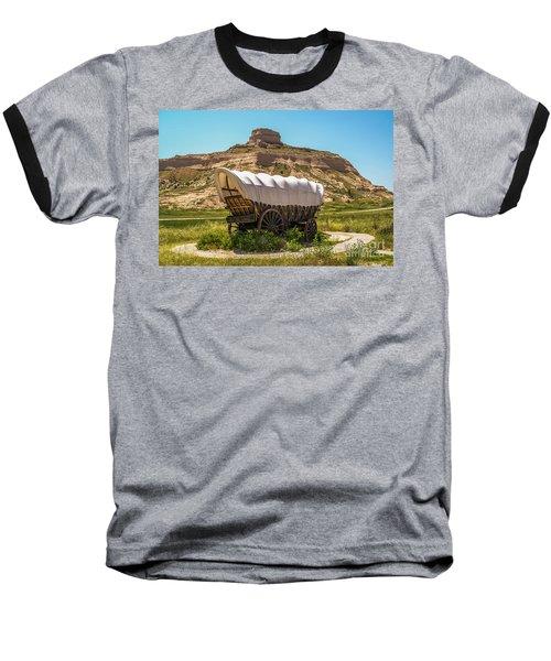 Covered Wagon At Scotts Bluff National Monument Baseball T-Shirt
