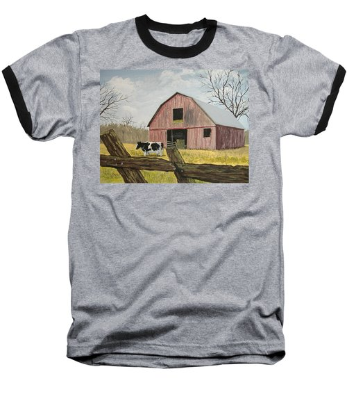 Baseball T-Shirt featuring the painting Cow And Barn by Norm Starks