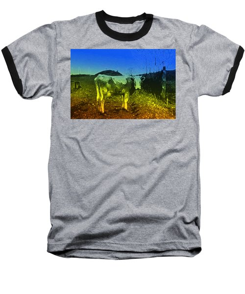 Baseball T-Shirt featuring the digital art Cow On Lsd by Cathy Anderson