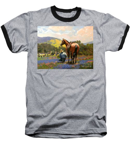 Cowboy And His Cows Baseball T-Shirt