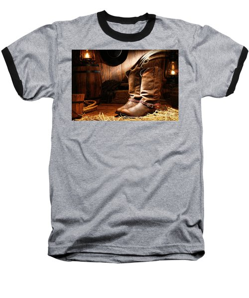 Cowboy Boots In A Ranch Barn Baseball T-Shirt