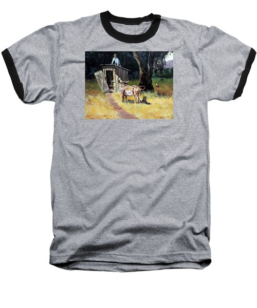 Cowboy On The Outhouse  Baseball T-Shirt by Lee Piper