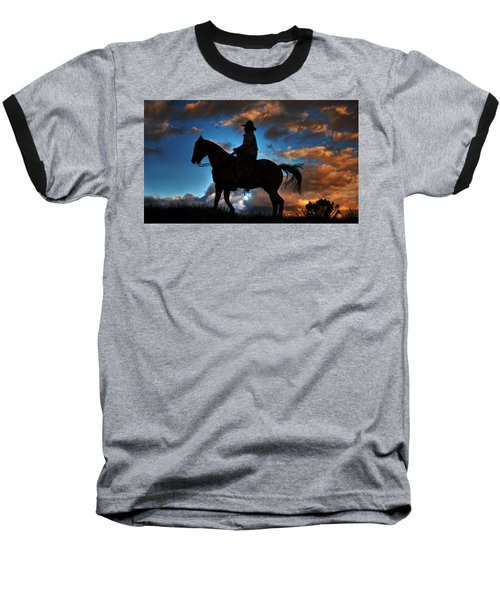Baseball T-Shirt featuring the photograph Cowboy Silhouette by Ken Smith