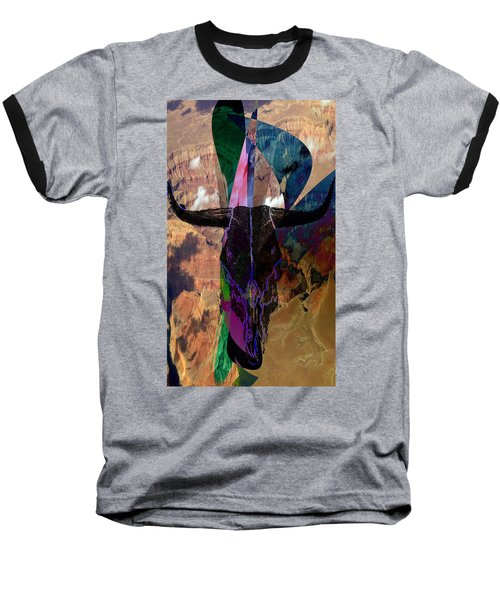 Baseball T-Shirt featuring the digital art Cowskull Over The Canyon by Cathy Anderson