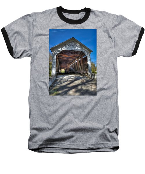 Cox Ford Covered Bridge Baseball T-Shirt by Alan Toepfer