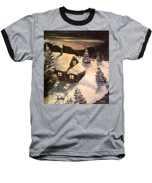 Baseball T-Shirt featuring the painting Cozy Cabin by Megan Walsh