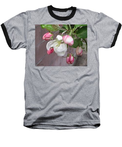 Baseball T-Shirt featuring the digital art Crabapple Blossoms Miniature by Donald S Hall
