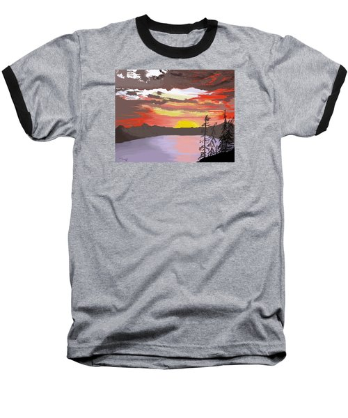 Baseball T-Shirt featuring the digital art Crater Lake by Terry Frederick