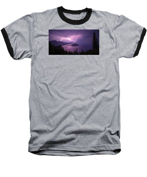 Crater Storm Baseball T-Shirt by Chad Dutson