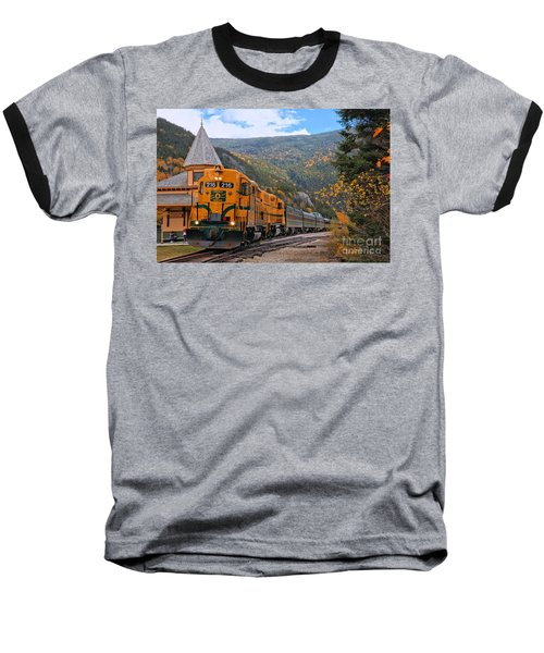 Crawford Notch Train Depot Baseball T-Shirt