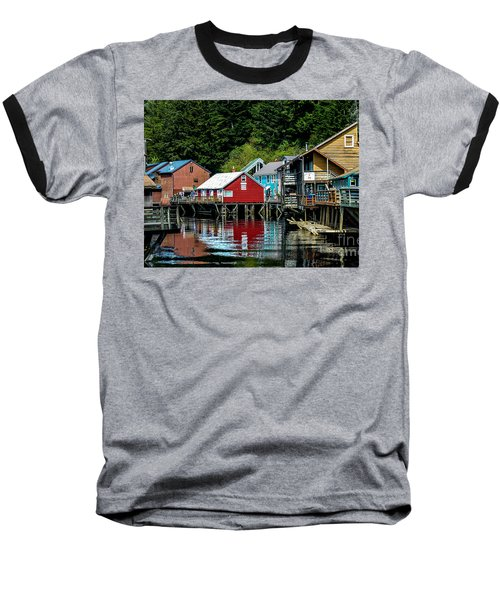 Creek Street - Ketchikan Alaska Baseball T-Shirt by Debra Martz