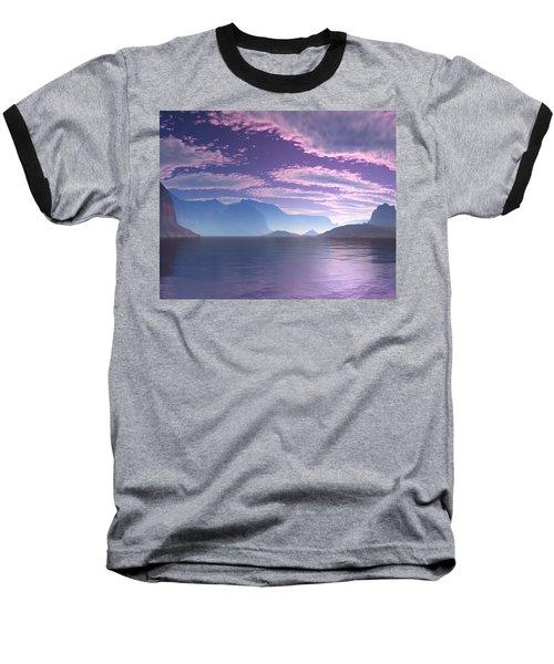 Baseball T-Shirt featuring the digital art Crescent Bay Alien Landscape by Judi Suni Hall