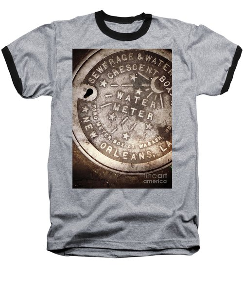 Crescent City Water Meter Baseball T-Shirt by Valerie Reeves
