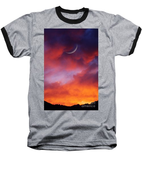 Baseball T-Shirt featuring the photograph Crescent Moon In Purple by Joseph J Stevens