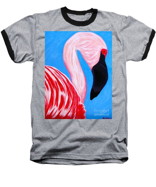 Crimson Flamingo Baseball T-Shirt by Anita Lewis