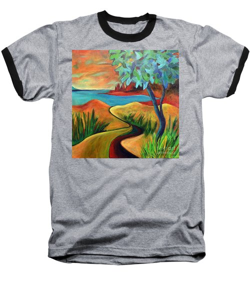 Baseball T-Shirt featuring the painting Crimson Shore by Elizabeth Fontaine-Barr